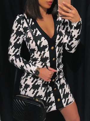 Houndstooth Single Breasted Mini Dress