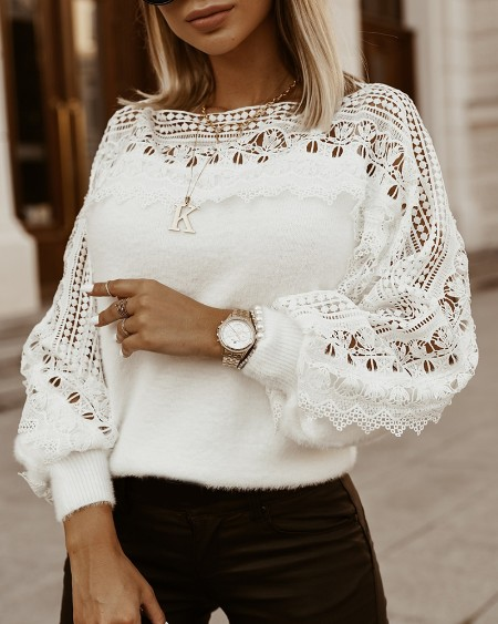 Guipure Lace Lantern Sleeve Sweater
