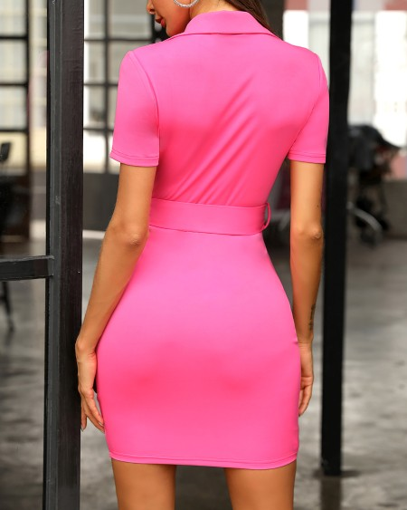 Short Sleeve Contrast Zipper Back Bodycon Dress