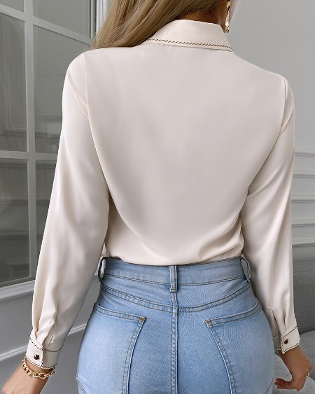 Cutout Front Ruffle Hem Long Sleeve Shirt