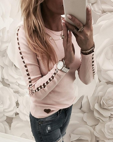 Beaded Ribbed Round Neck Top