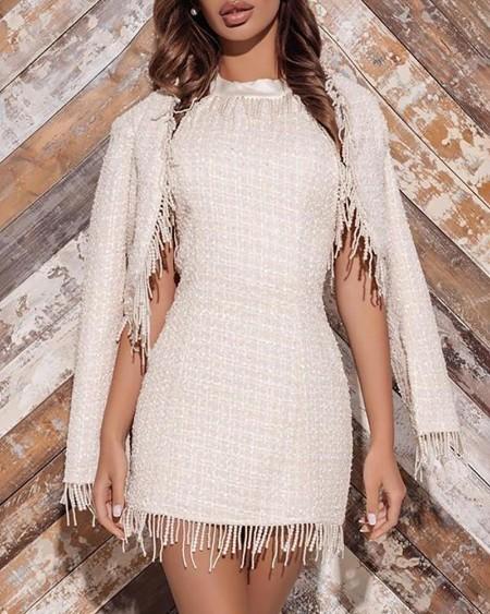 Tassel Design Tweed Dress With Cape