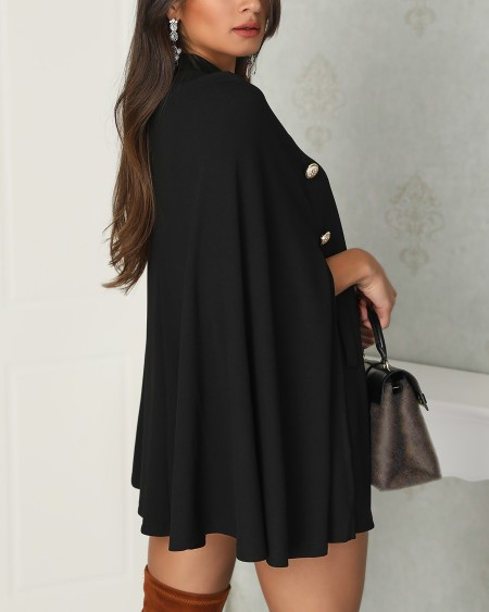 Button Detail Cloak Design Mini Dress