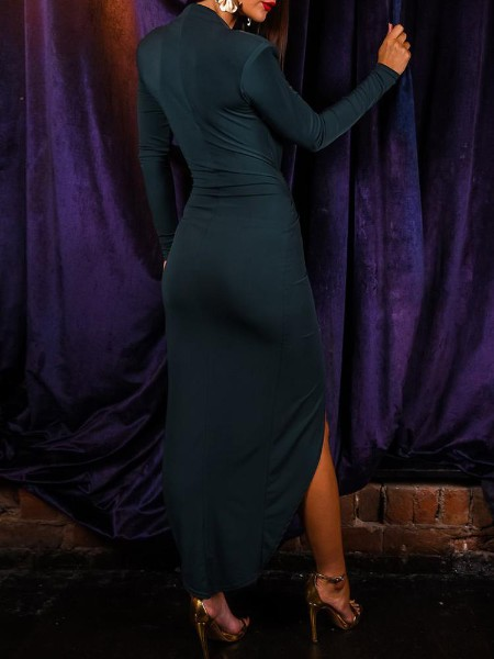 Sequin Insert Ruched Slit Evening Dress
