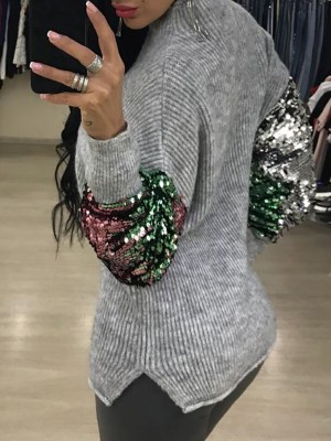 Sequins Embellished Insert Casual Sweater