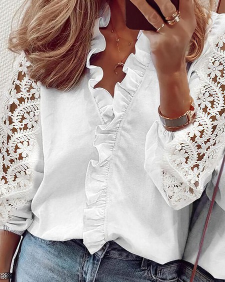 Solid Color Splicing Lace Ruffle Hem Long Sleeve Shirt