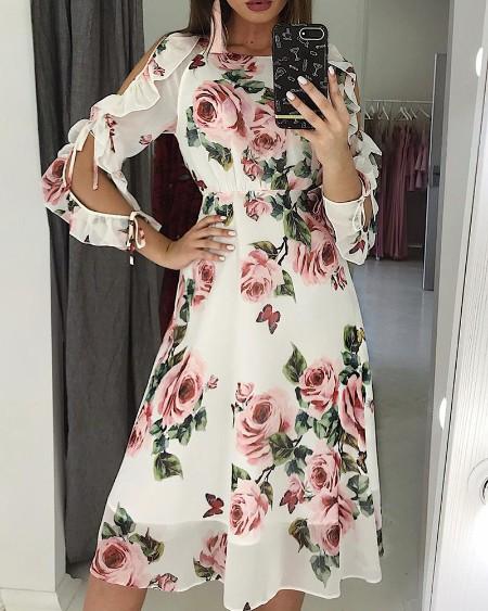 Blooming Floral Print Ruffles Slit Sleeve Dress