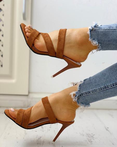 boutiquefeel / Crisscross Bandage Slingback Thin Heeled Sandals