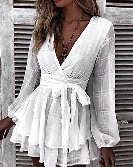 boutiquefeel / Grid Tight Waist Layered Ruffles Dress