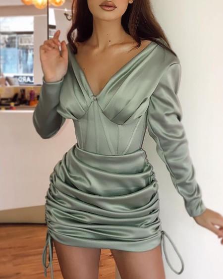 Plain Long Sleeve Ruched Drawstring Bodycon Dress