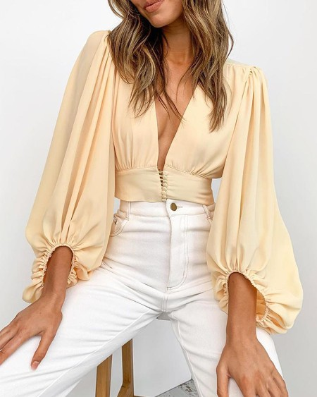 Button Front Lantern Sleeve Top