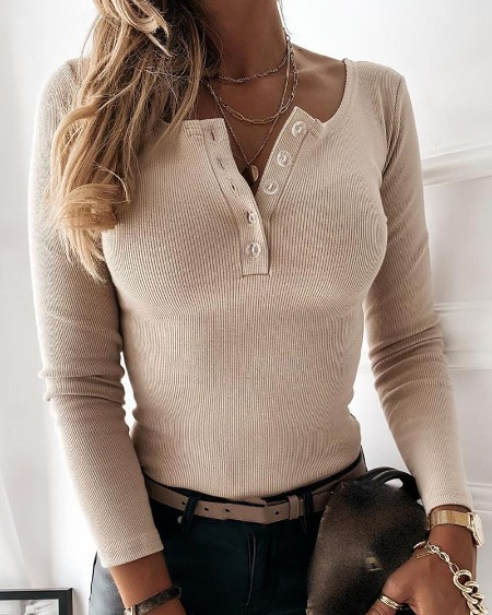 Button Design Long Sleeve Casual Sweater