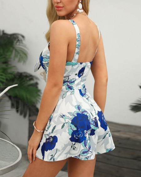 Floral Print Thin Strap Knotted Detail Romper