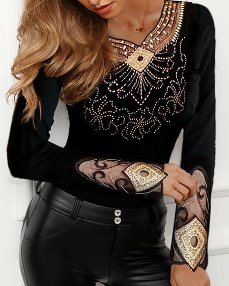 Sheer Mesh Studded Design Blouse