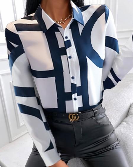 Creative Print Long Sleeve Shirt