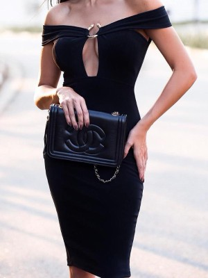 Alluring Off Shoulder Buckle Design Midi Dress