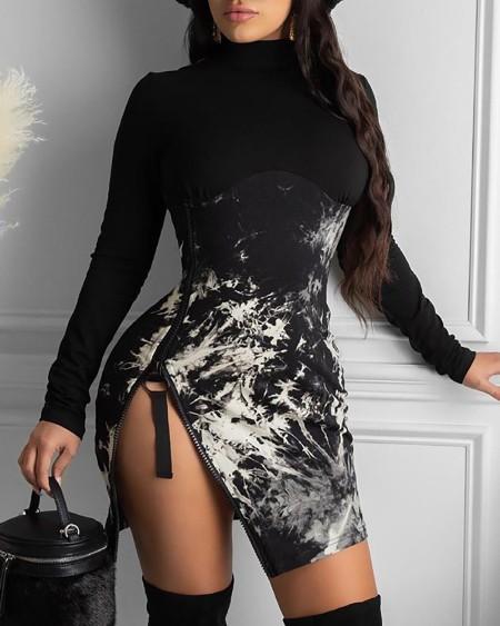 Tie Dye Print Long Sleeve Slit Dress