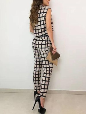 Plaid Print Pocket Design Shirt Look Jumpsuit
