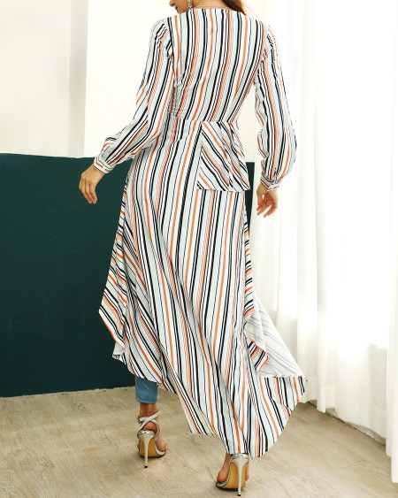 Colorful Striped Knotted Dip Hem Blouse