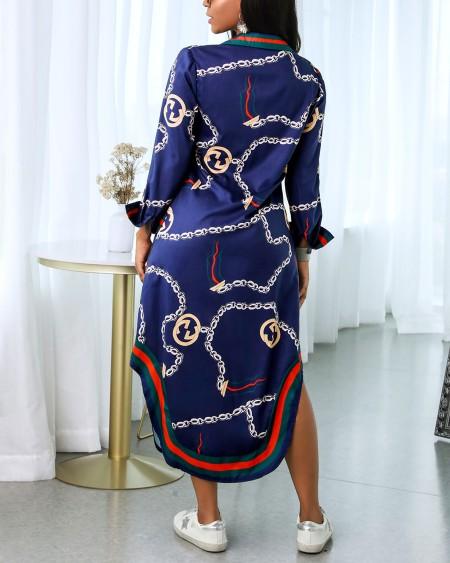 Chain Print Slit Buttoned Shirt Dress