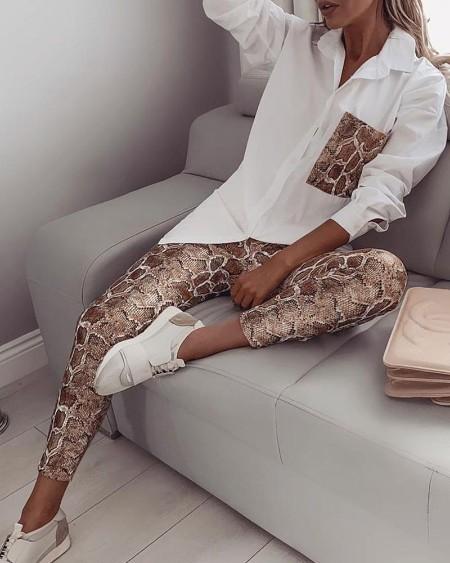 Snake Contrast Pocket Top & Pants