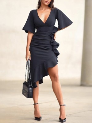 Flared Sleeve Ruffles Scrunch Design Party Dress