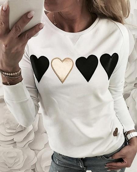 Heart Stickers Long Sleeve Casual Sweatshirt