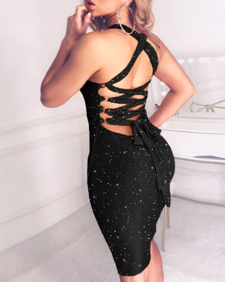 Glitter Tied Lace-Up Sequins Dress