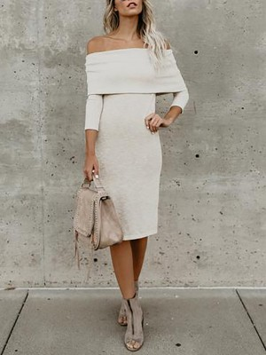 Stylish Off Shoulder Split Bodycon Midi Dress