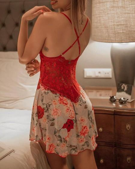 Floral Print Crochet Lace Crisscross Backless Babydoll