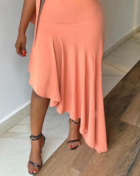 One Shoulder Ruffles Irregular Dress