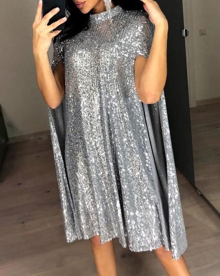 Glitter Mock Neck Cape Design Sequins Dress