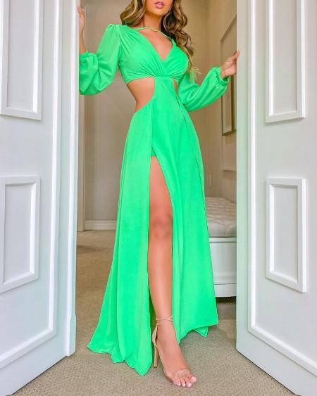 High Slit Cutout Maxi Dress