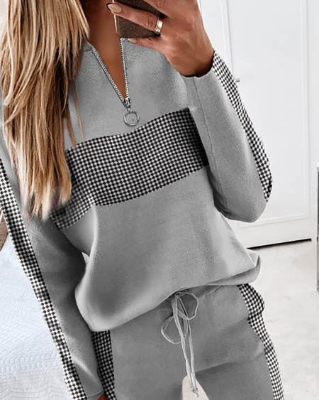 Colorblock Zipper Design Long Sleeve Top & Drawstring Waist Pants Set