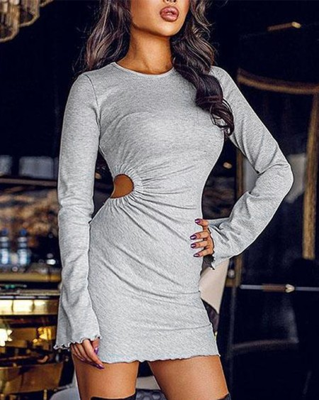 Cutout Ruched Long Sleeve Bodycon Dress