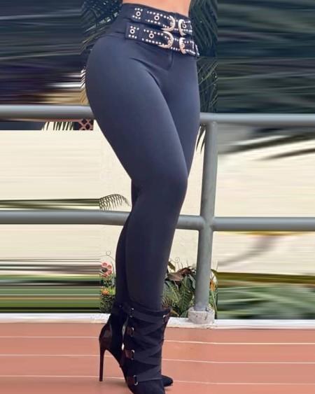High Waist Waist Decor Skinny Pants