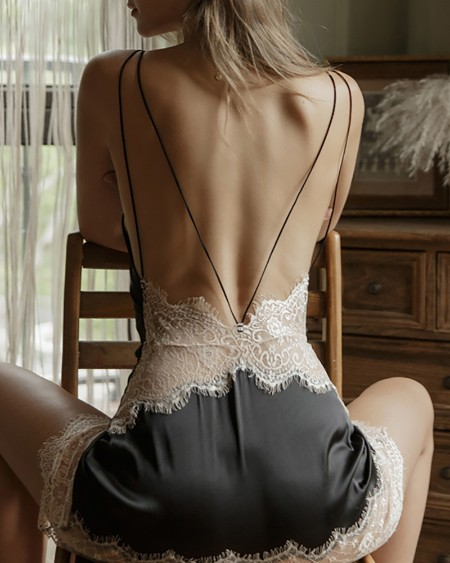 Eyelash Lace Backless Slip Dress