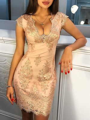 Low Cut Lace Crochet Bodycon Dress
