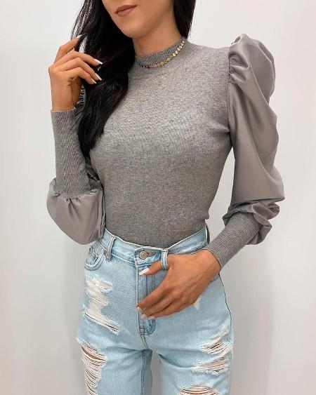 Plain Puffed Sleeve Knit Sweater
