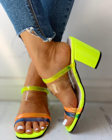 boutiquefeel / Colorblock Open Toe Chunky Heeled Sandals