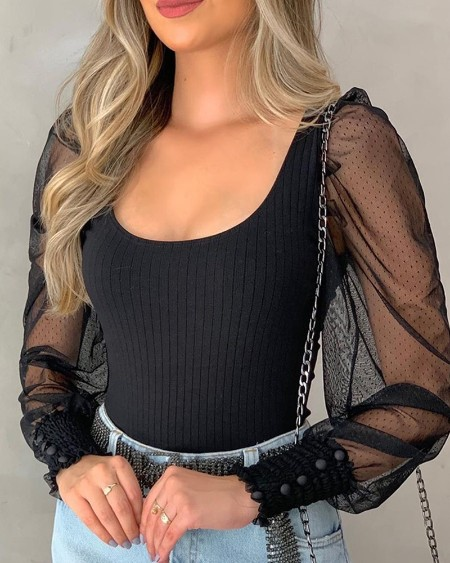 Round Neck Puff Sleeve Sheer Mesh Insert Ribbed Blouse