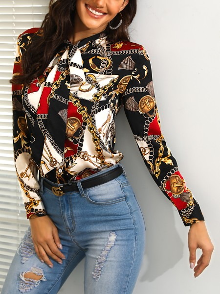 Tied Neck Chain Print Casual Shirt