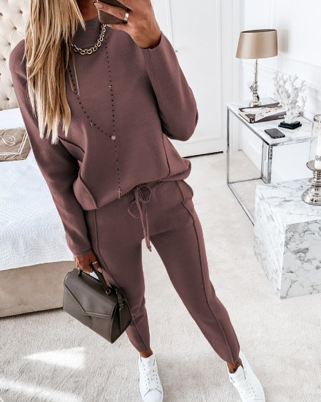 Plain Long Sleeve Top & Drawstring Pants Set