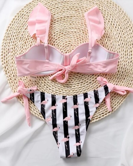 Flamingo Print Bowknot Design Bikini Set