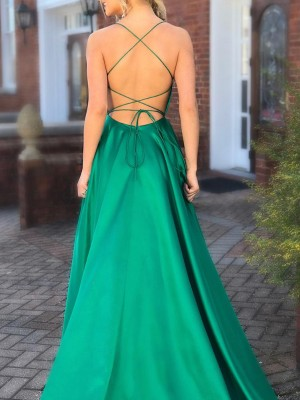 Sexy Strappy Backless Thigh Split Evening Dress