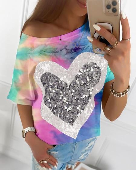 Tie Dye Print Heart Sequins T-shirt