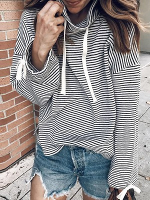 Fashion Pinstripes Drawstring Casual Sweatshirt