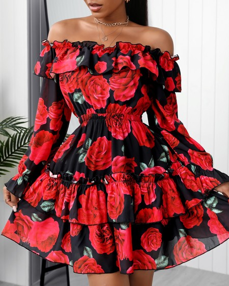 Off Shoulder Floral Print Ruffles Chiffon Dress