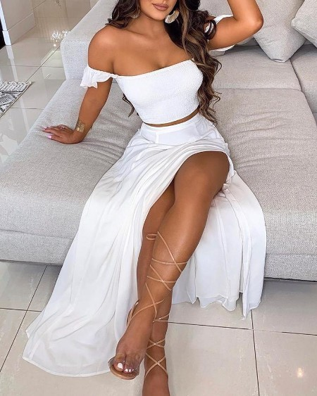 Off Shoulder Ruffles Top & Thigh Slit Skirt Set