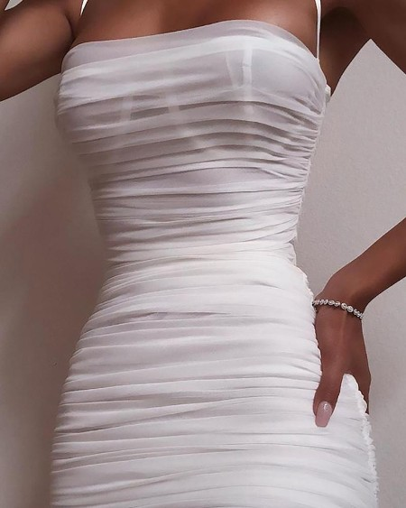 Spaghetti Strap Mesh Ruched Bodycon Dress